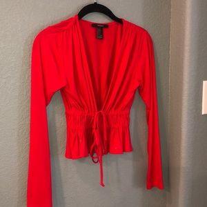 Long sleeve red tie crop top!